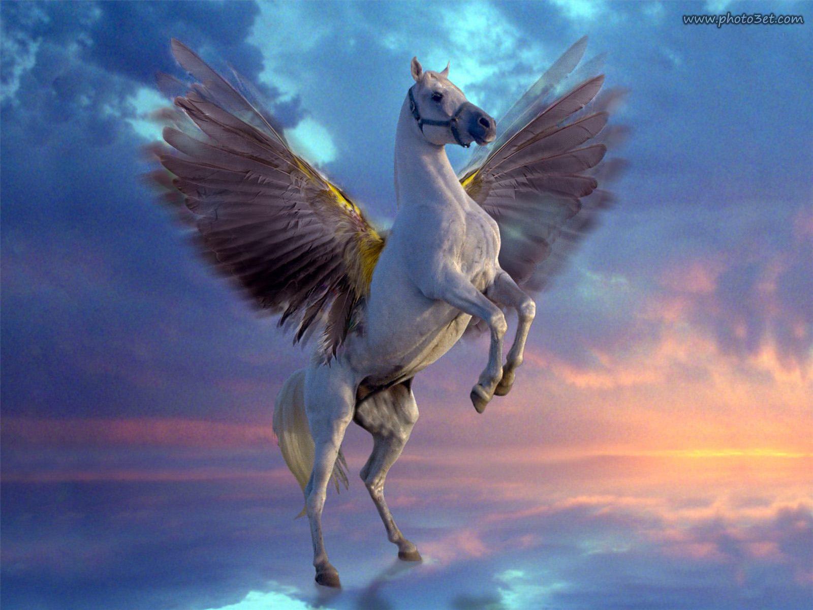 تصویر فانتزی اسب بال دار در حال پرواز